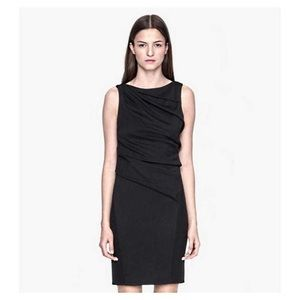 Black wool helmut Lang draped sheath dress